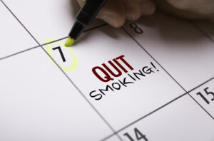 Calendar with Quit Smoking written in and date circled